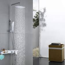 Messing Homelody Duschsysteme Weiß Duschset Mit Regalen Für Badezimmer
