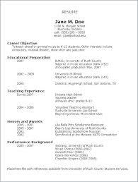 Sample Resume College Student New Education Cv Template Music Resume
