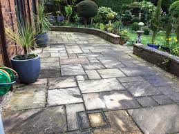 removing grout smears from a black limestone patio in walgrave