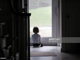 looking out front door. Little Girl Looks Out Front Door Looking E