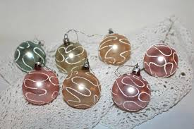 7 Antike Weihnachtsbaumkugeln Pastell 55 Cm