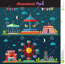 Amusement Park Design Game Set Of Flat Design Composition With Amusement Park Stock