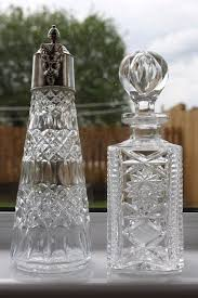 vintage silver plated cut glass wine decanter and exclusive tom bohemia crystal