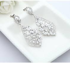bridal chandelier earrings cubic zirconia chandelier drop dangle earrings crystal bridal earrings long drop earrings