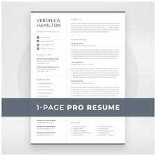 One Page Resume Templates Modern Professional Resume Template Compact 1 Page Resume Template Modern One Page Cv For Word Mac Pages Instant Download Veronica