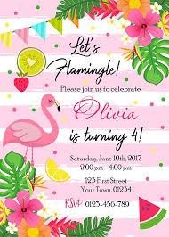 Hawaiian Pool Party Invitations Flamingo Birthday Party Invitation Lets Flamingle Birthday