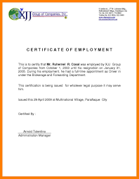 Certification Of Employment Letter Sample Certificate Of Employment
