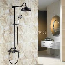 bronze rain shower head with handheld. aliexpress.com : buy bathroom black oil rubbed bronze wall mount rain shower system head + handheld set with 1.5m hose ars703 from a