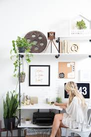 View In Gallery Bright Home Office With Touches Of Green Plants  R
