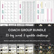 Group Fitness Challenge Tracker Coach Group Bundle 28 Day Sweat Sparkle Fitness Challenge