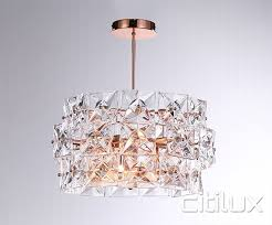 inessa 4 lights pendant rose gold cux