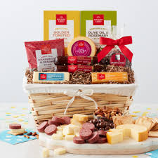 birthday wishes gift basket with beef summer sausage various cheeses ers nuts