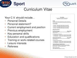 Personal Description Work Experience In Sport Ppt Download