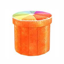 Orange round ottoman Mid Century Orange Round Foldable Ottoman 3fottro Dering Hall Orange Round Foldable Ottoman Sincere Home And Leisure