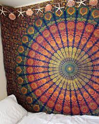 blue  yellow hippie medallion mandala boho tapestry wall hanging