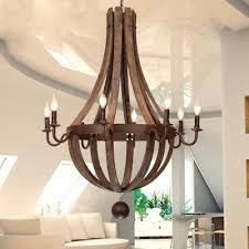 wooden wine barrel stave chandelier industrial wood wine barrel stave rust metal candelabra chandelier pendant retro