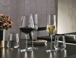 bormioli rocco wine glasses on a gray table