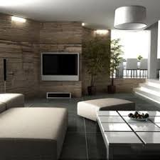 half stone materials wall interior decor inspirations of living room with modern white rectangle shaped wall mounted lcd tv and simple line shaped ceiling