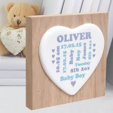 new baby ceramic heart on wooden block unique personalised baby keepsake gift