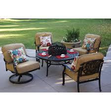 darlee elisabeth 5 piece cast aluminum patio fire pit conversation seating set