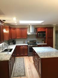 kitchen cabinet refinishing orlando fl lovely cherry kitchen cabinets with gray wall and quartz countertops ideas