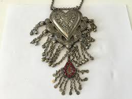 handmade nickel heart shaped vintage necklace india punjab 1975