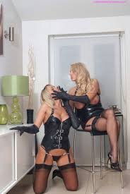 Hot busty blonde lesbians playing in leather gloves Pichunter.