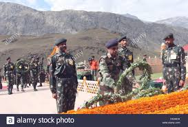 indian army officers laying a wreath at a war memorial during vijay diwas or victory day celebration in dr about 160 km 99 miles east of srinagar