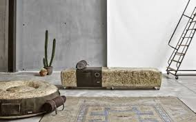 DesRes Straw Bench & Lge Pouf Leather ...