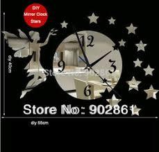 free shipping stylish brand modern. modren modern funlife free shipping diy5540cm 217157in modern novelty quartz  stylish decorative tinkerbell stars mirror wall clock with brand f