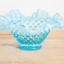 fenton opalescent hobnail blue frilled bowl candy dish vintage