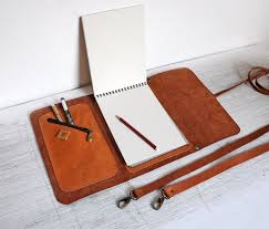 leather sketchbook case with pen holder and cross body strap personalized leather journal artist portfolio