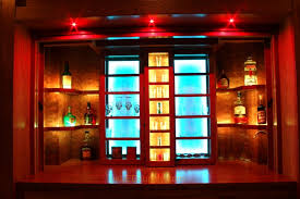 lighting for bars. lake house bar combines woodworking craftmanship and led lighting into a work of art for bars
