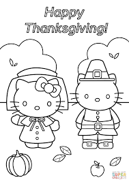 Printable Coloring Pages Hello Kitty With Thanksgiving Page Free And ...