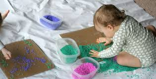 arts and crafts to do at home with toddlers. baby/toddler colored rice art from fun at home with kids arts and crafts to do toddlers f