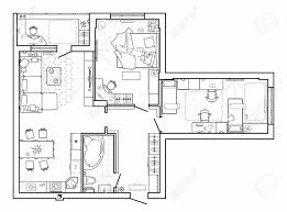 floor plan furniture vector. Floor Plan With Furniture In Top View. Architectural Set Of Furniture. Detailed Layout Vector E