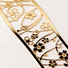 anese pattern book marker blossoms wag001 gold bookmark series 24 k bookmark metal bookmark with a metal surface processing anese pattern
