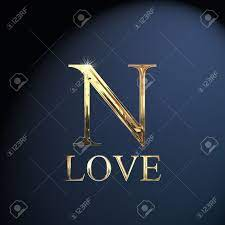 Gold alphabet letter N word love on a ...