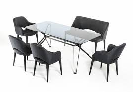 vig modrest synergy smoked glass dining table set w bench 6 pcs modern reviews