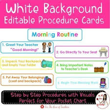 Morning Routine Procedure Cards Editable