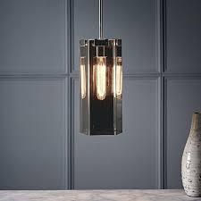 west elm glass ceiling light pendant barrel polished nickel smoke er outdoor lights home depot west elm