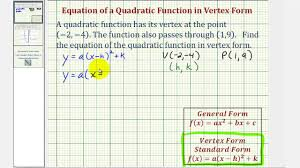 ex find the vertex form of a quadratic function given the vertex and a point