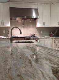 element mist glass 2 x 6 with fantasy brown granite fantasy brown marble