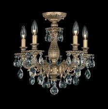 milano 5 light 110v close to ceiling in parchment gold with clear optic crystal