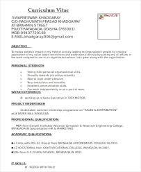Resume Format For Mba Marketing Fresher