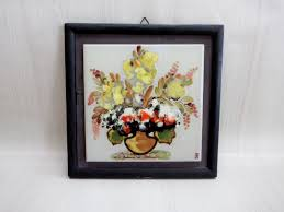 vintage wall hanging painting on ceramic tile art vase with flowers painting original wall art wood framed ceramic tile painting
