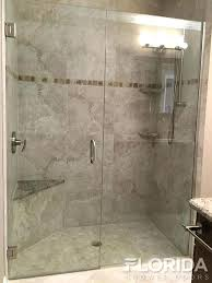 glass shower doors frameless inline glass shower door secured with u channel brushed nickel hardware glass