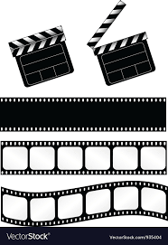Film Strips Pictures Movie Clapper With 3 Film Strips Royalty Free Vector Image