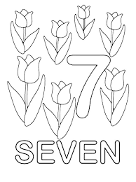 Small Picture Learn Number 7 with Seven Tulips Coloring Page Bulk Color