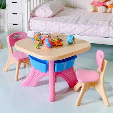Plastic Children Kids Table \u0026 Chair Set 3-Piece Play Furniture In/Outdoor HW56085 3 Piece In